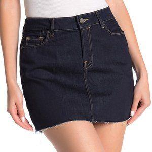 ALLSAINTS Ace Denim Mini Skirt FRAY HEM DARK WASH